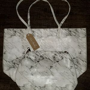 Pink Haley White Marble Tote with Crossbody bag